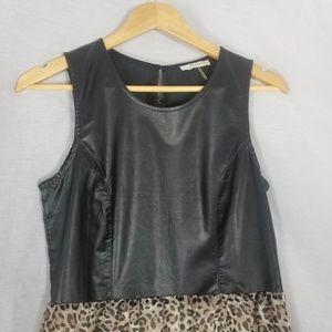 Freebird by Steven Dresses - Freebird Faux Leather Leopard Print Hi Low Dress M